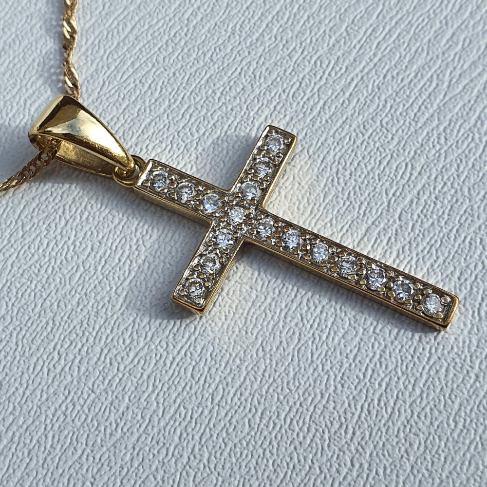 Product photo for 9ct Yellow Gold chain & CZ Cross Pendant