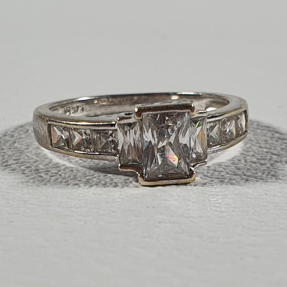 Product photo for 9ct White Gold CZ Engagement Ring Size M