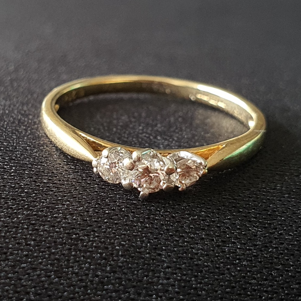 Product photo for 9ct Yellow Gold Trilogy Diamond Engagement Ring Size L-M