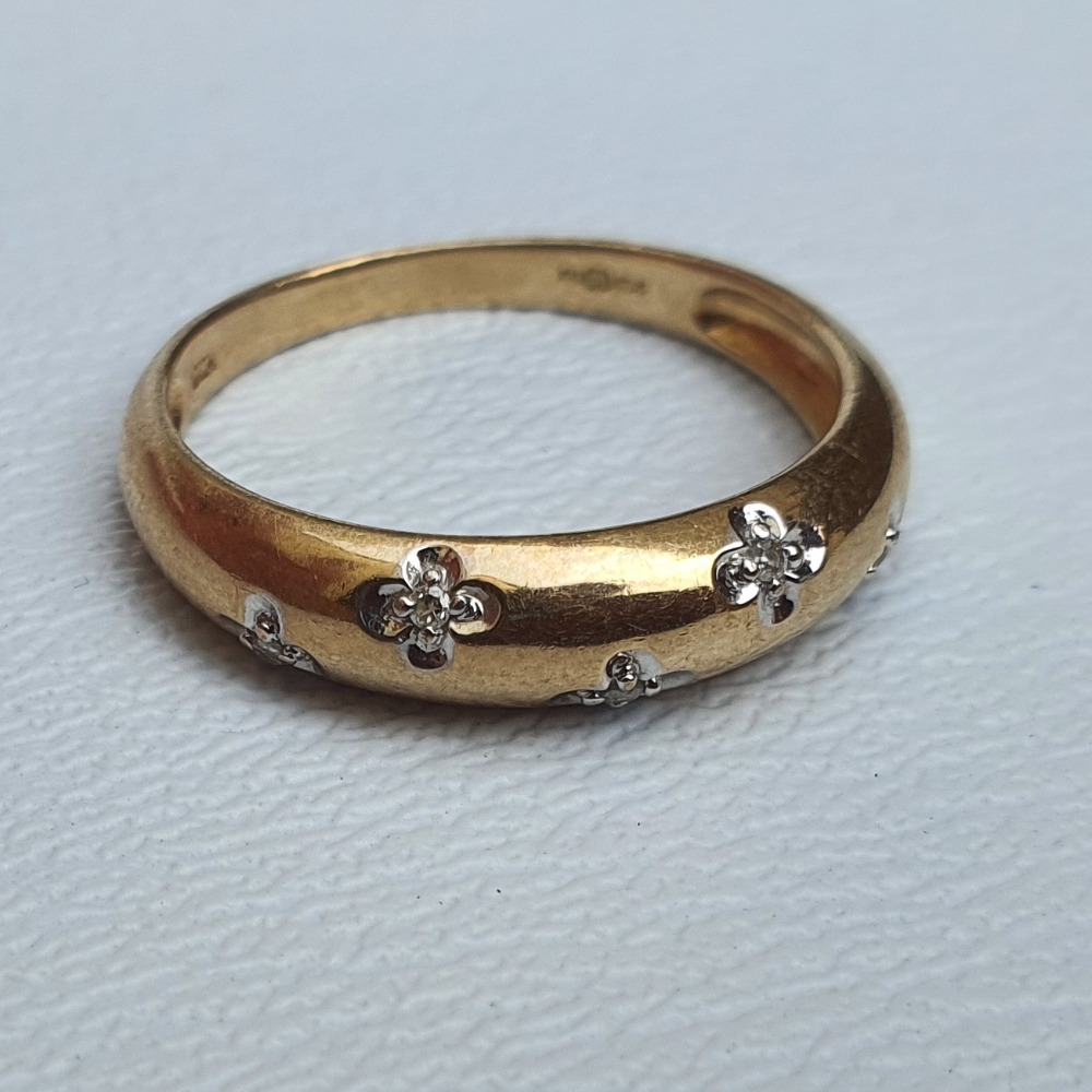 Product photo for 9ct Yellow Gold with Diamonds Dress Band Ring Size O