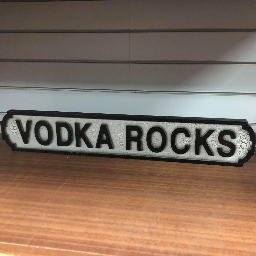 Product photo for Vodka Rocks Sign - Perfect for a Bar!