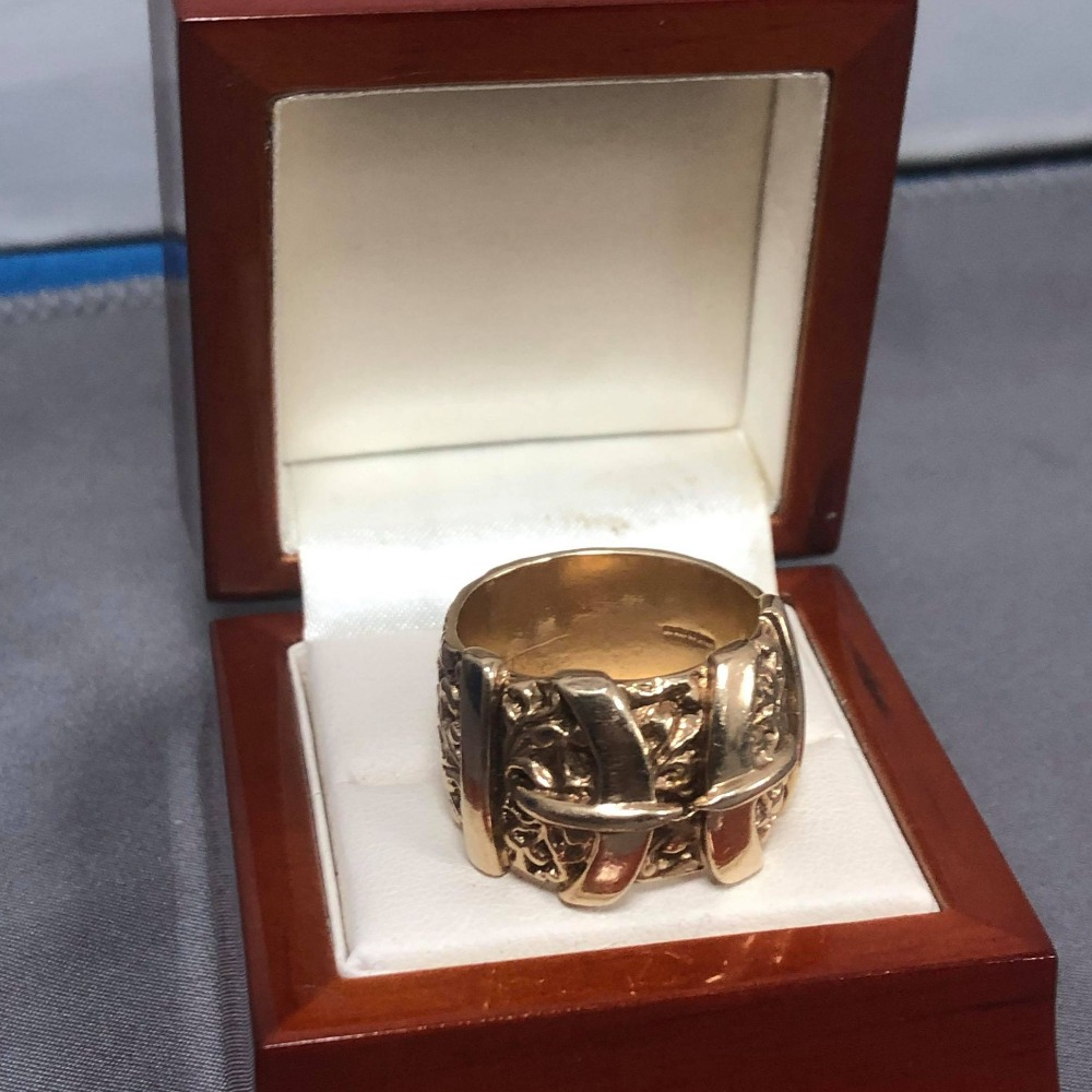 Product photo for 9ct Yellow Gold Buckle Ring