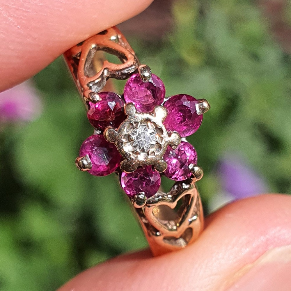 Product photo for 9ct Yellow Gold Ruby & Diamond Flower Cluster Ring