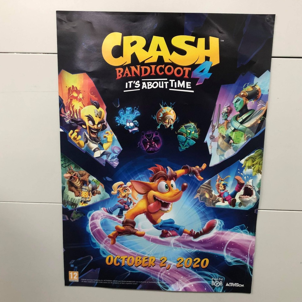 Product photo for Collectable Crash bandicoot It's About Time Offical Promo Poster (Not a Game)