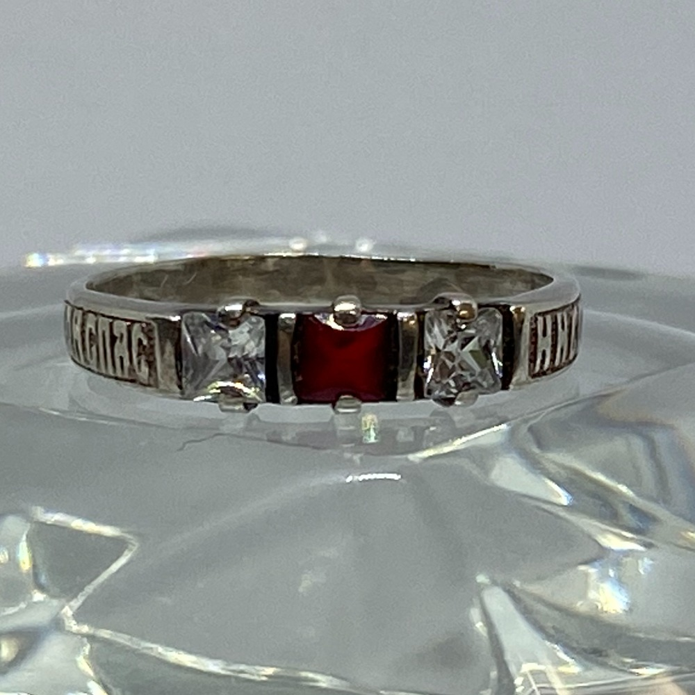 Product photo for SILVER SYNTHETIC RUBY & CZ RING - 1.4 GRAMS - SIZE N 1/2