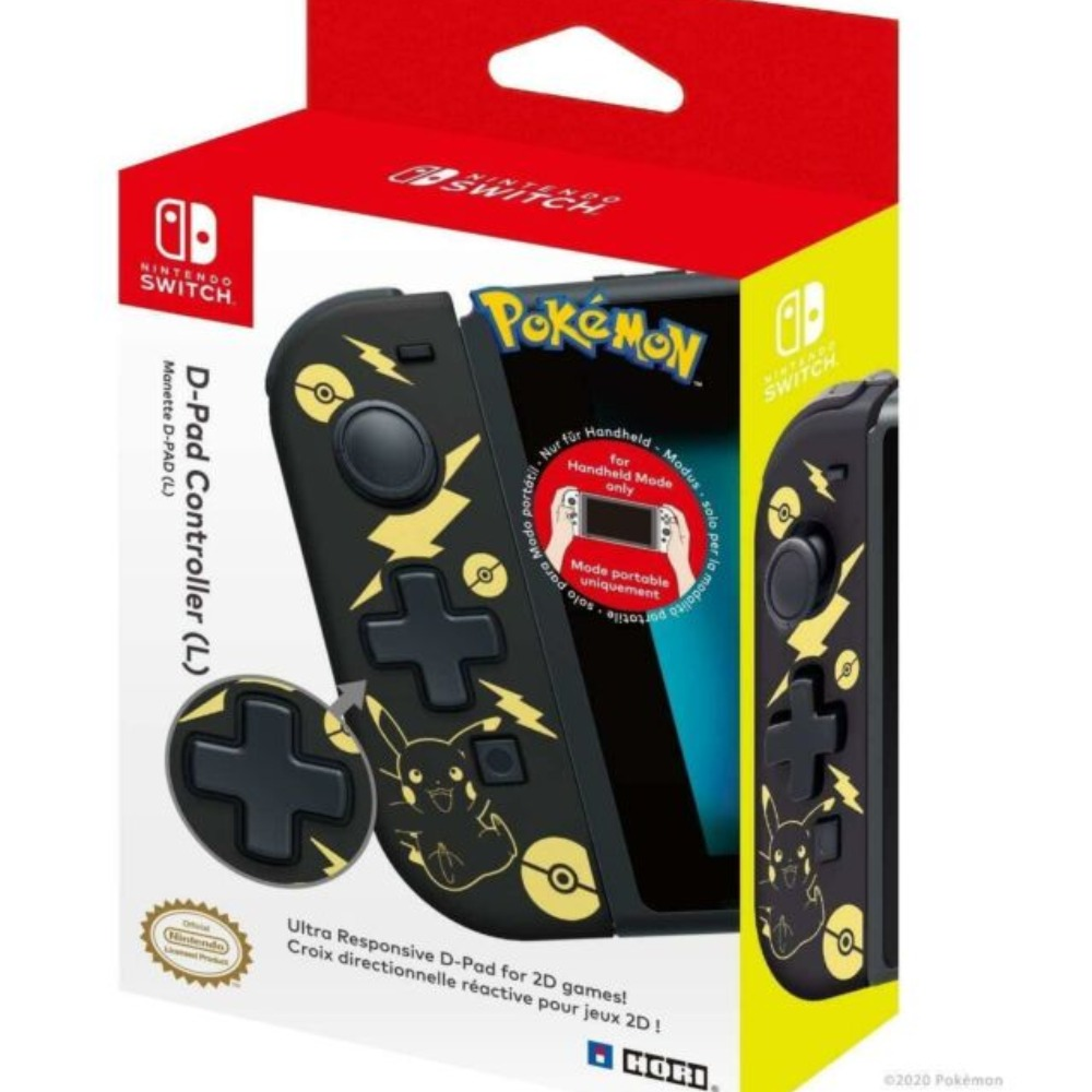 Product photo for D-Pad Controller (L) Pokemon: Pikachu Black & Gold Edition (Switch)