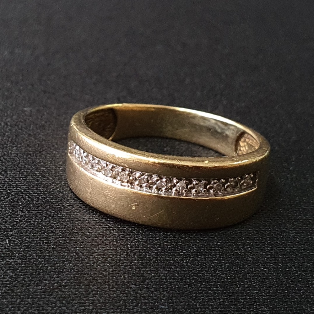 Product photo for 9ct Yellow Gold Band Ring with Diamonds Size R-S