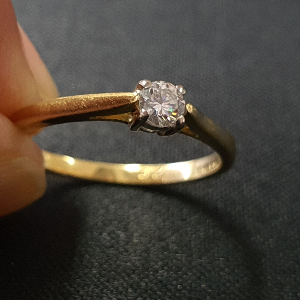 Product photo for 18ct Yellow Gold Diamond Solitaire Engagement Ring Size L1/2