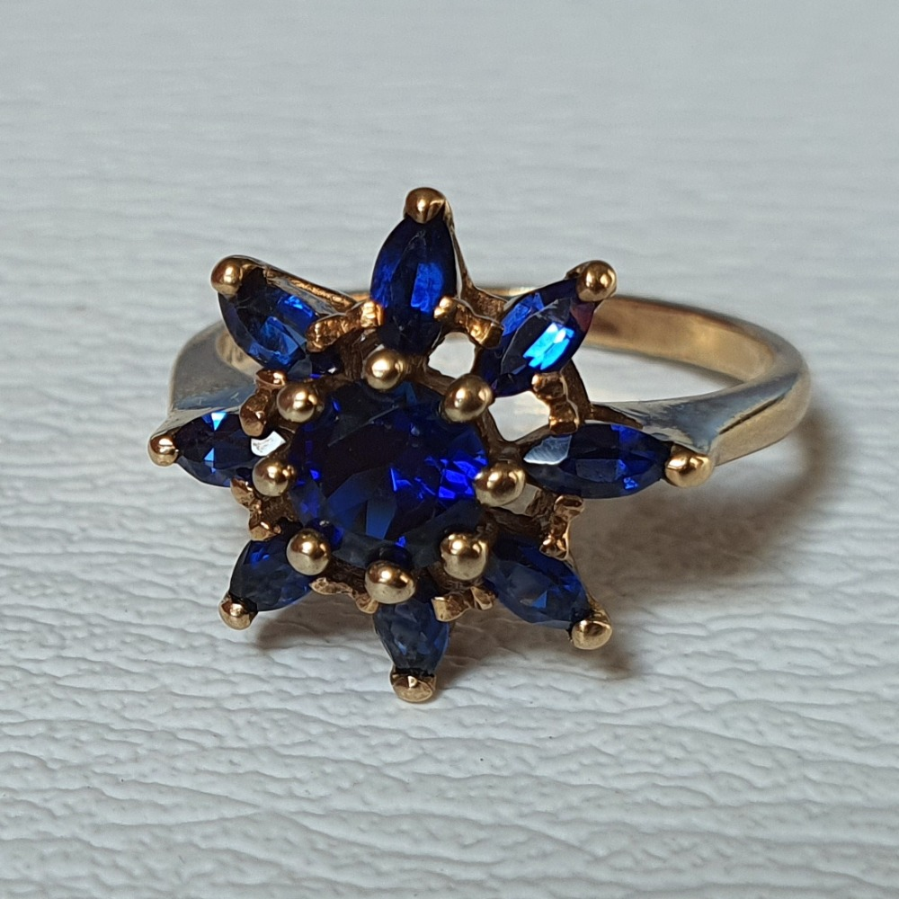 Product photo for 2.94g 9ct Yellow Gold Synthetic Blue Sapphire Flower Cluster Ring Size K