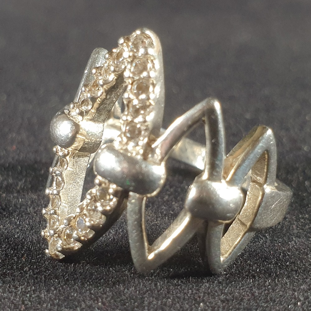 Product photo for 6.31g silver abstract cz ring size N
