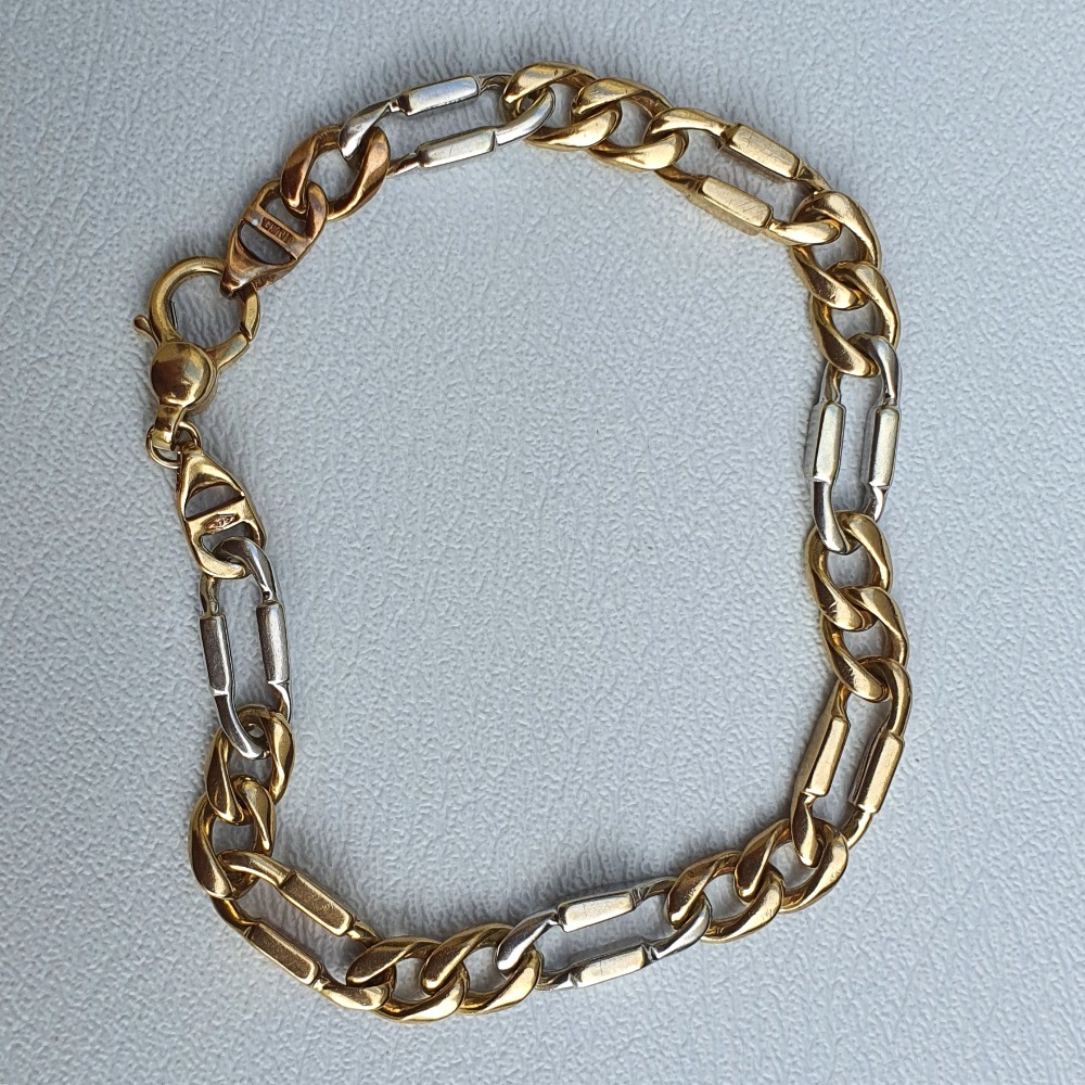 Product photo for 9ct Yellow & White Gold 2 Tone Unique Modern Fancy Curb Bracelet 8.5 inches