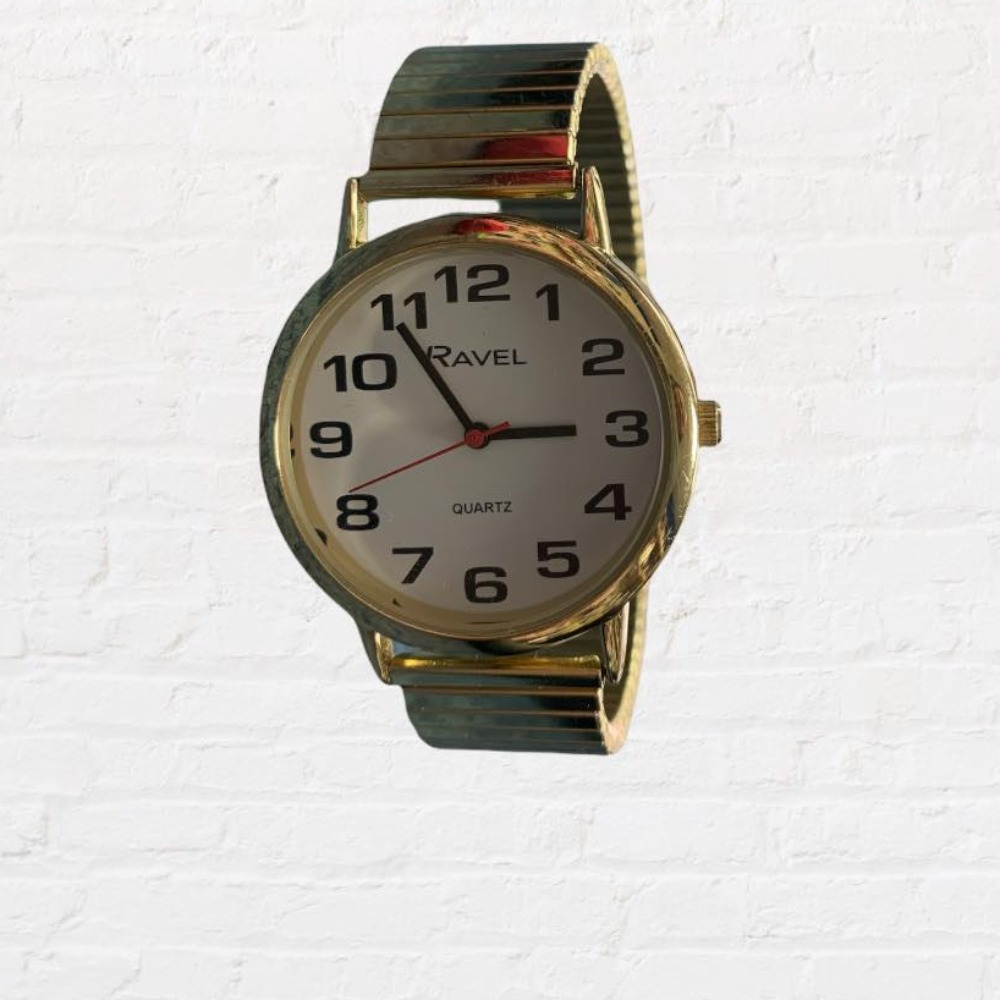 Product photo for Quartz Easy Read RavelR0208 Watch ( Expanding Stretch Band)
