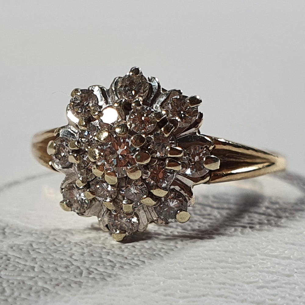 Product photo for 9ct Yellow Gold Sparkly Diamonds Dome / Layered Flower Cluster Ring Size P-P1/2