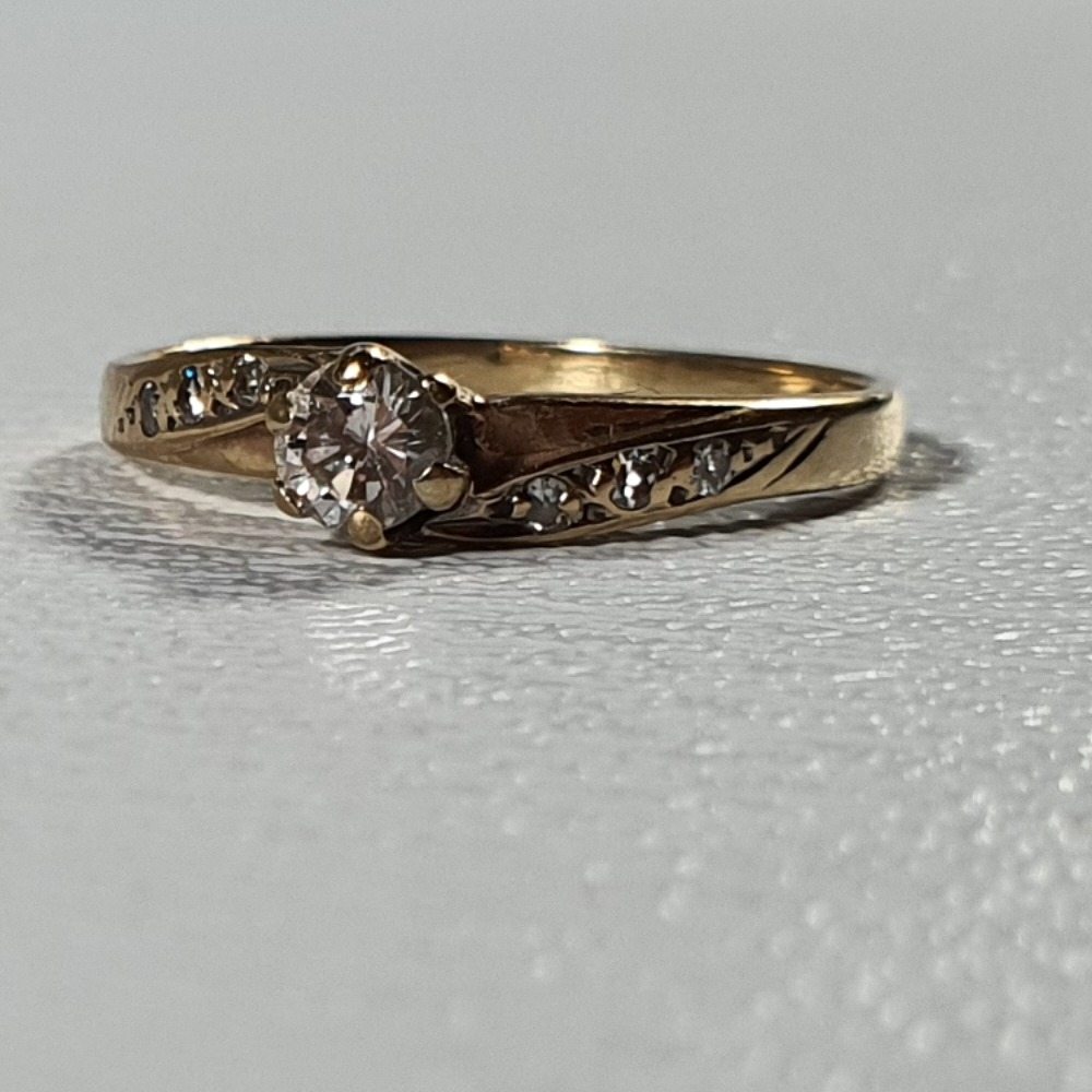 Product photo for 1.42g 9ct Yellow Gold Diamonds Solitaire Engagement Ring Size J1/2-K