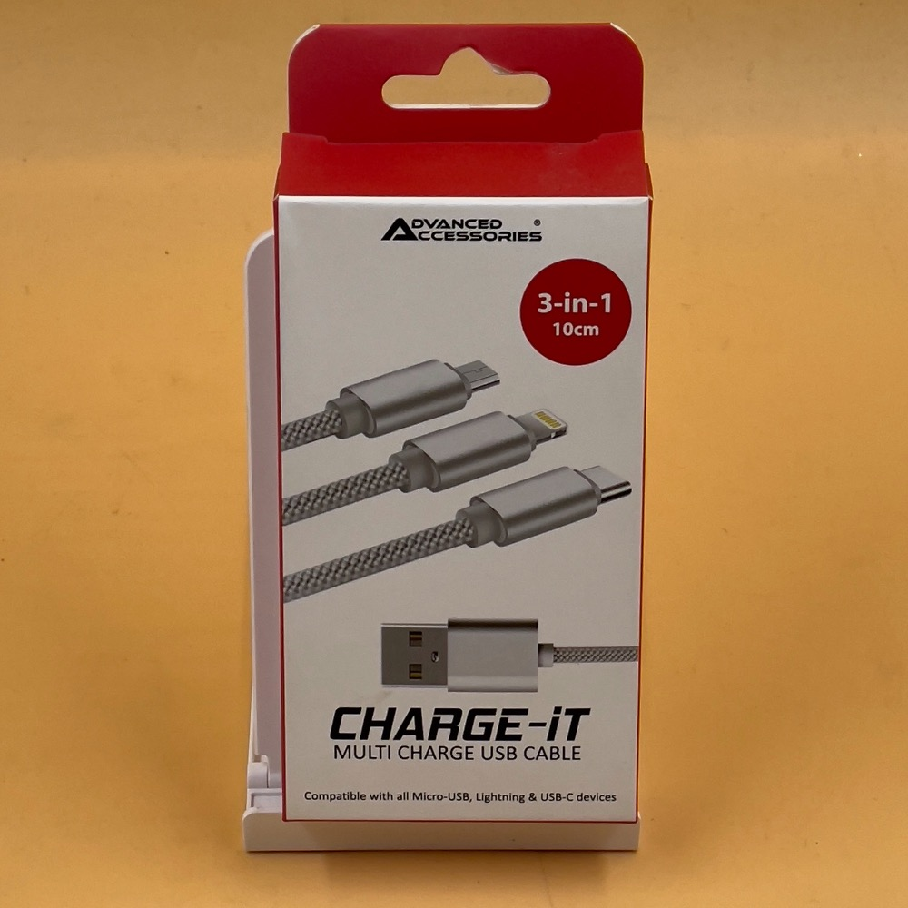 Product photo for ADVANCED ACCESSORIES 3-IN-1 MULTI CHARGE USB CABLE