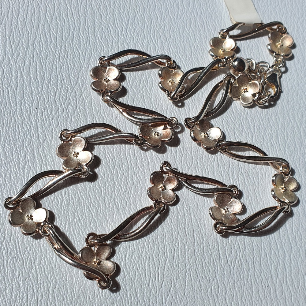Product photo for 925 Silver Flower Infinity Necklace 16 inches