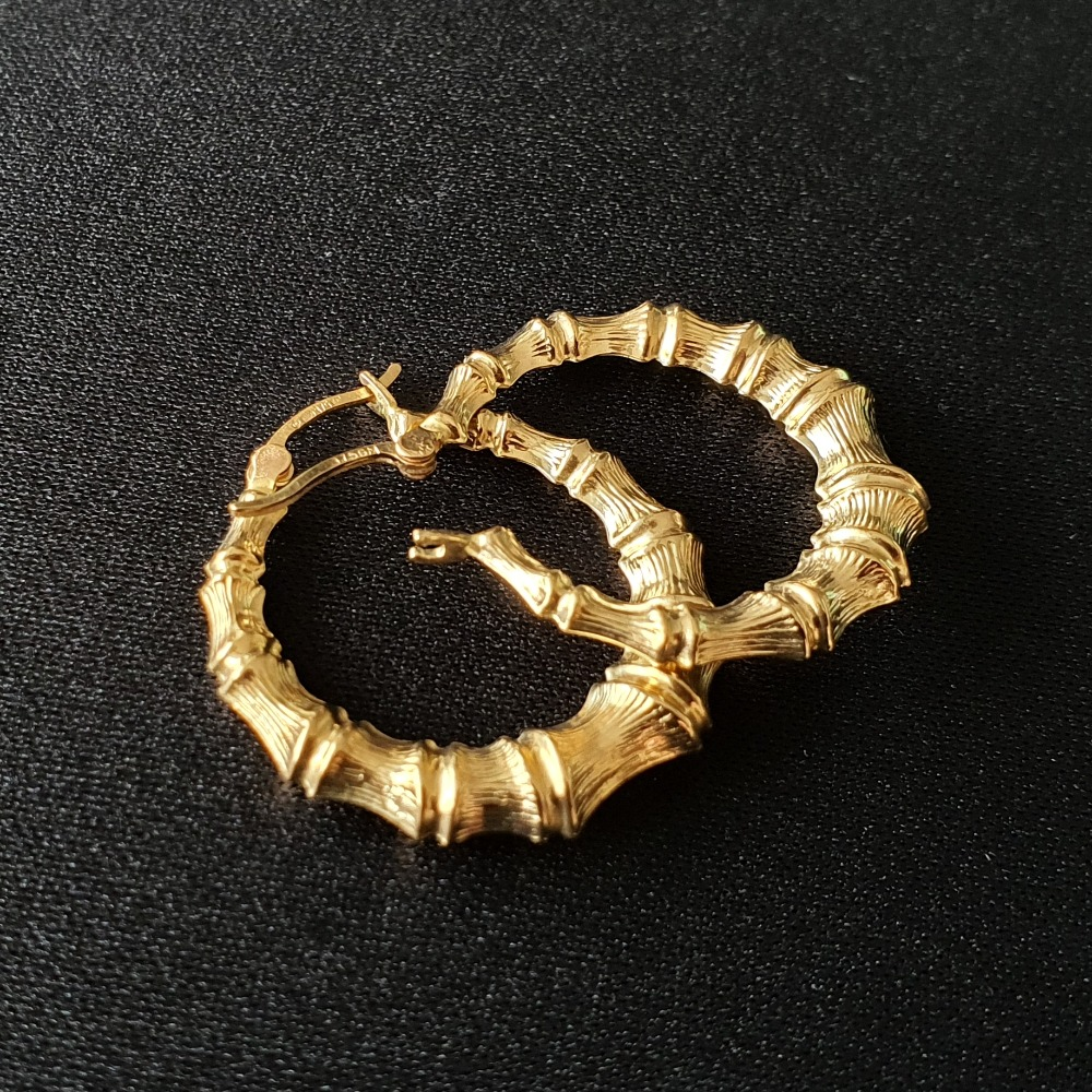 Product photo for 9ct Yellow Gold Bamboo Hoop Earrings