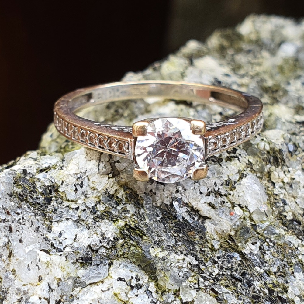 Product photo for 9ct Fading White Gold CZ Engagement Ring Size L1/2