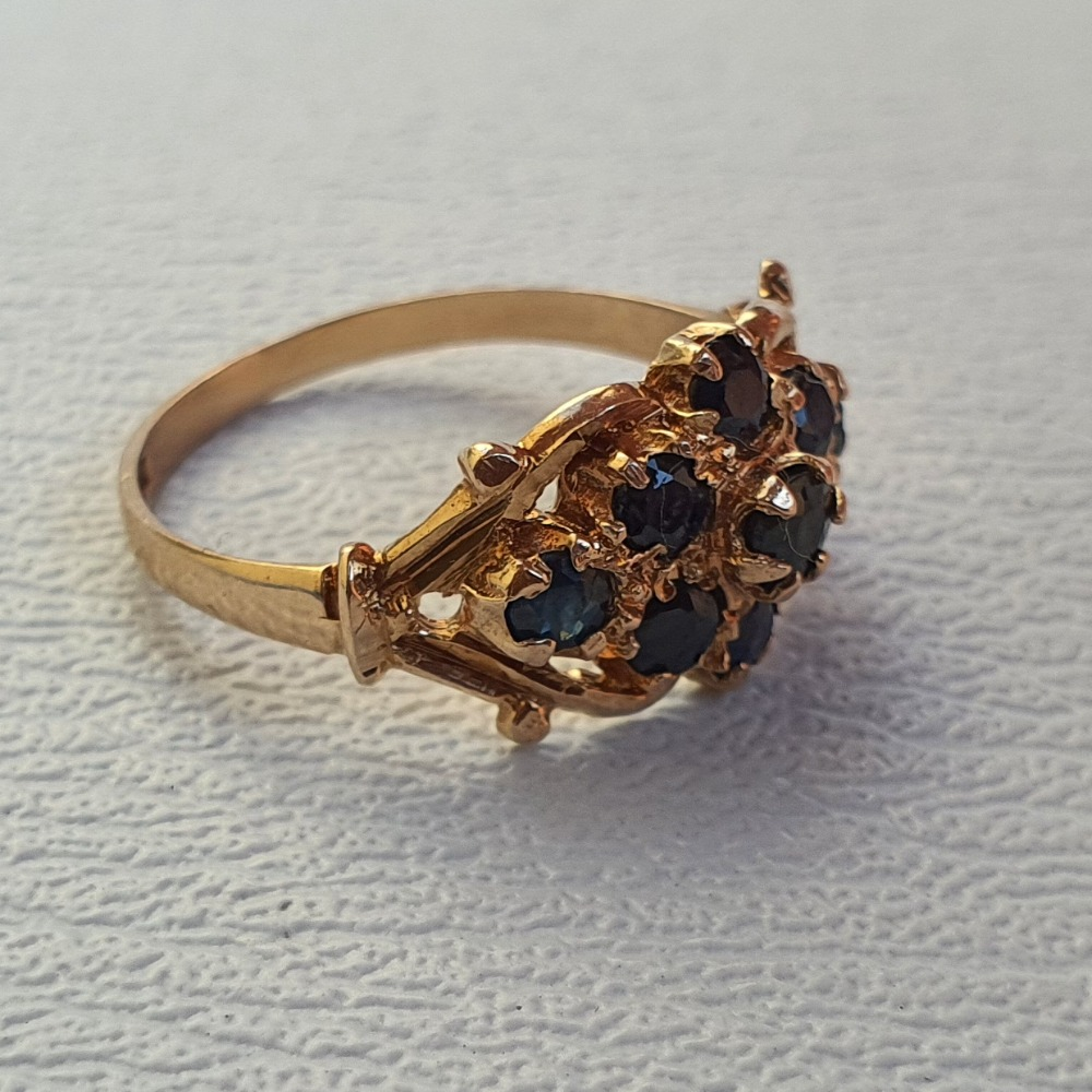 Product photo for 2.15g 9ct Yellow Gold Blue Sapphire Flower / Boat Cluster Ring Size N