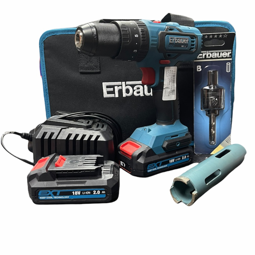 Product photo for Erbauer    Cordless Combi Drill Brushed