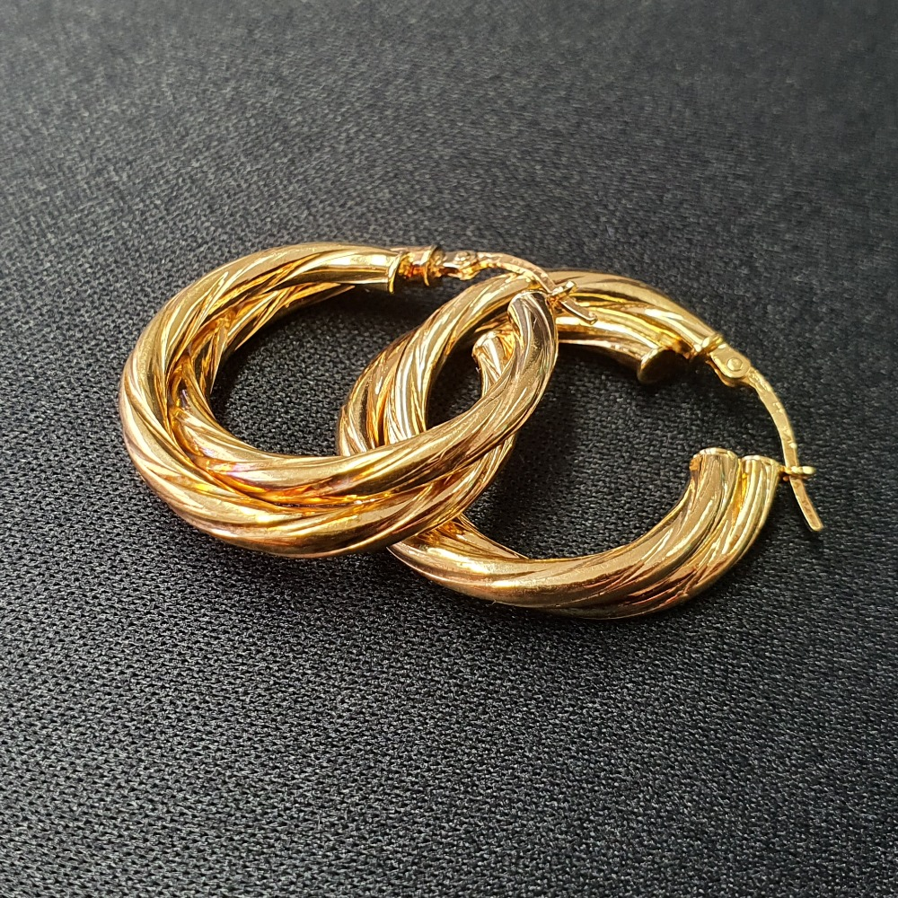 Product photo for 2.95g 9ct Yellow Gold 2 Twisted Tube Earrings