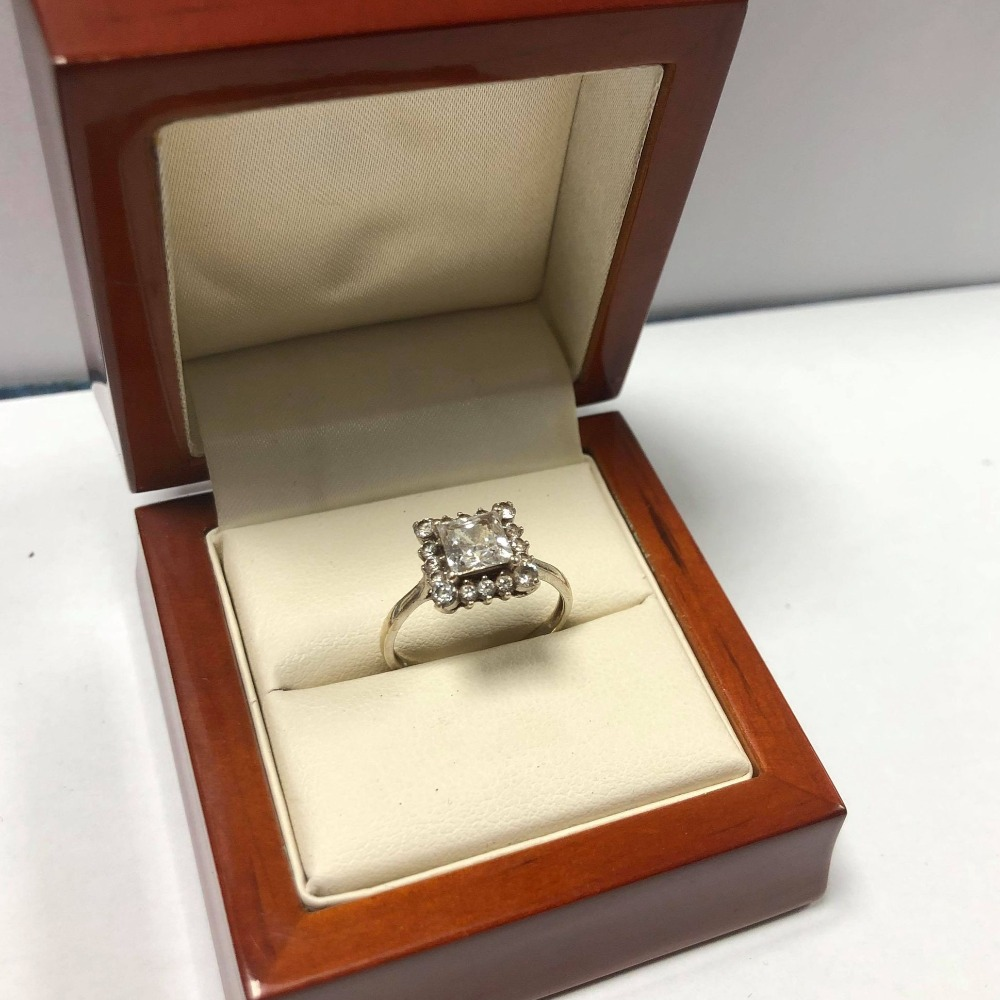Product photo for 9ct White Gold CZ (cubic zirconia) Cluster Ring (Size N)