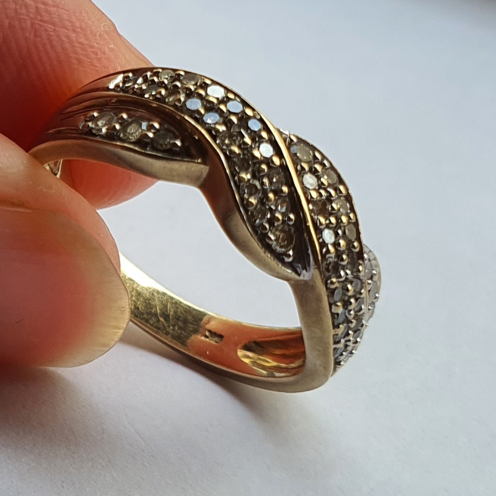 Product photo for 9ct Yellow Gold Plaited Infinity Pave Diamond Ring