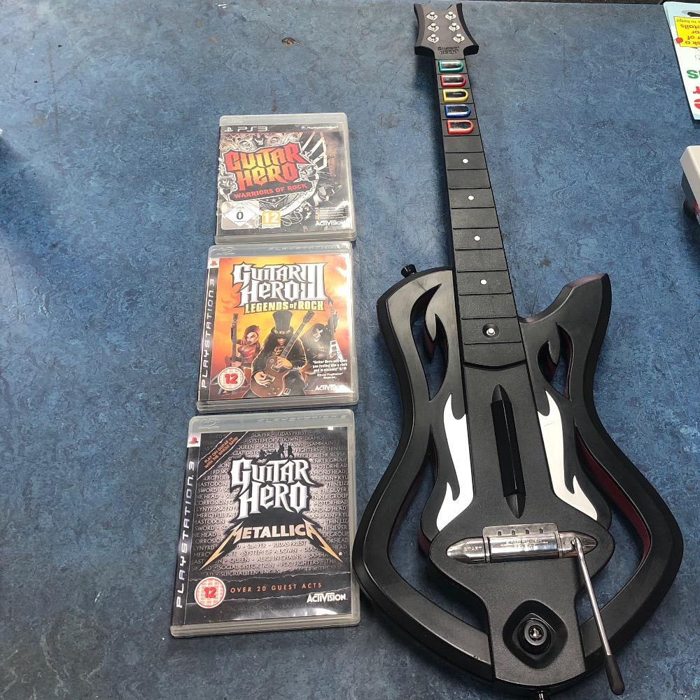 Product photo for Sony guitar hero wireless guitar no dongle