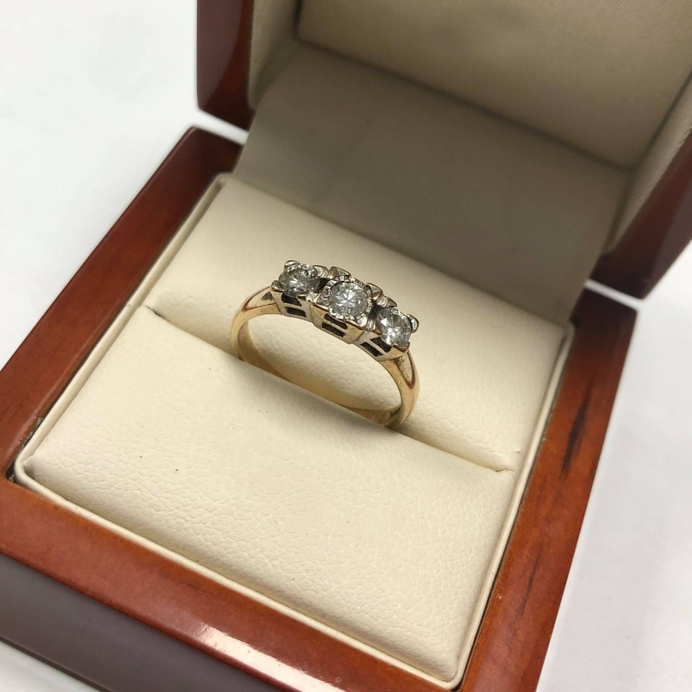 Product photo for 3 Stone Diamond 9ct Yellow Gold Ring (Size M )