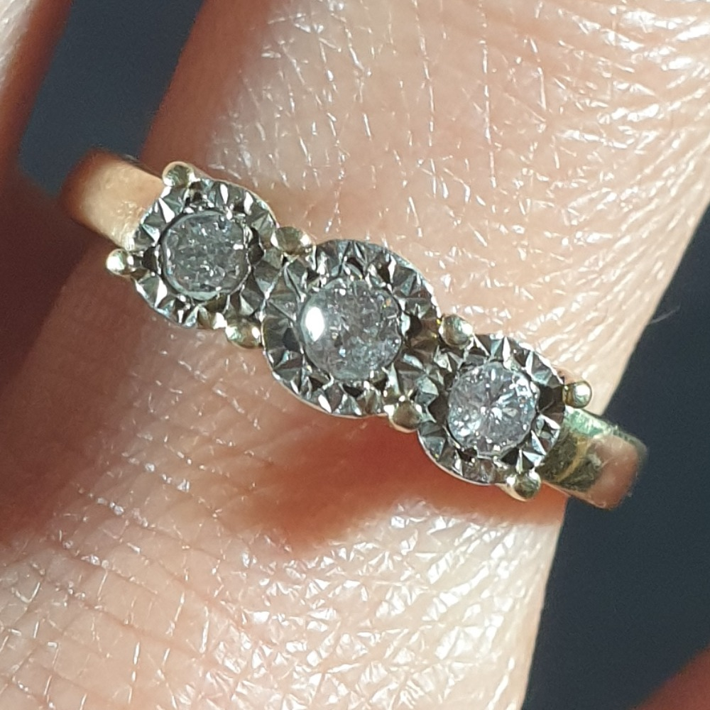 Product photo for 9ct Yellow Gold Trilogy 3 Diamond ring size N-O