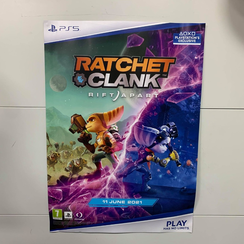 Product photo for  Collectable Ratchet & Clank Rift Apart Gamestop Exclusive Promotional Poster (Not Game)
