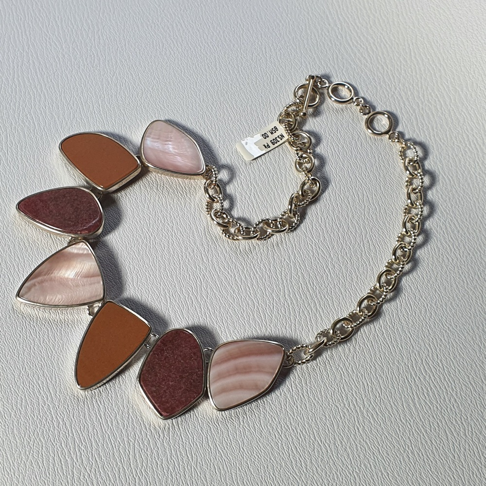 Product photo for Brand New silver 7 big stone necklace