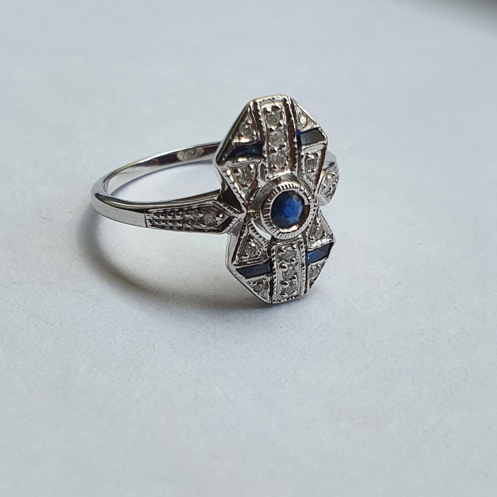 Product photo for 2.76g 9ct sapphire&dia brand new art deco M
