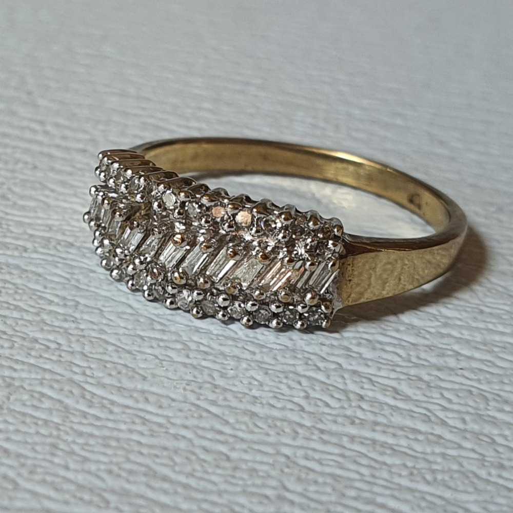 Product photo for 9ct Yellow Gold Round & Baguette Diamonds Dress Ring Size N1/2 QVC