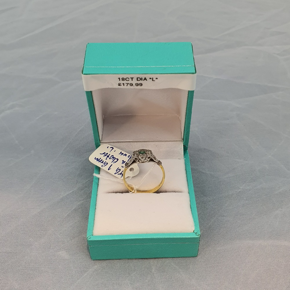 Product photo for Gold 18ct Flower Diamond Cluster Ring
