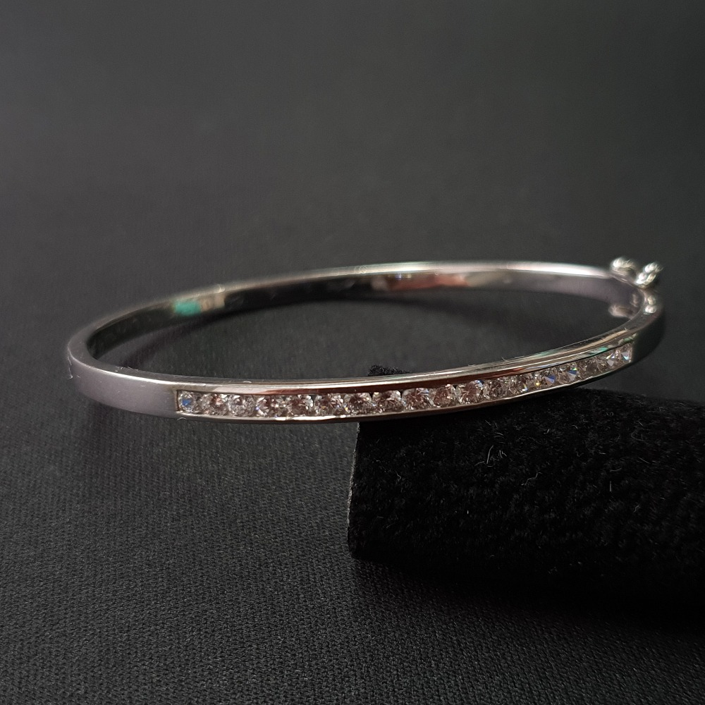 Product photo for Silver CZ Bangle Fully Hallmark.