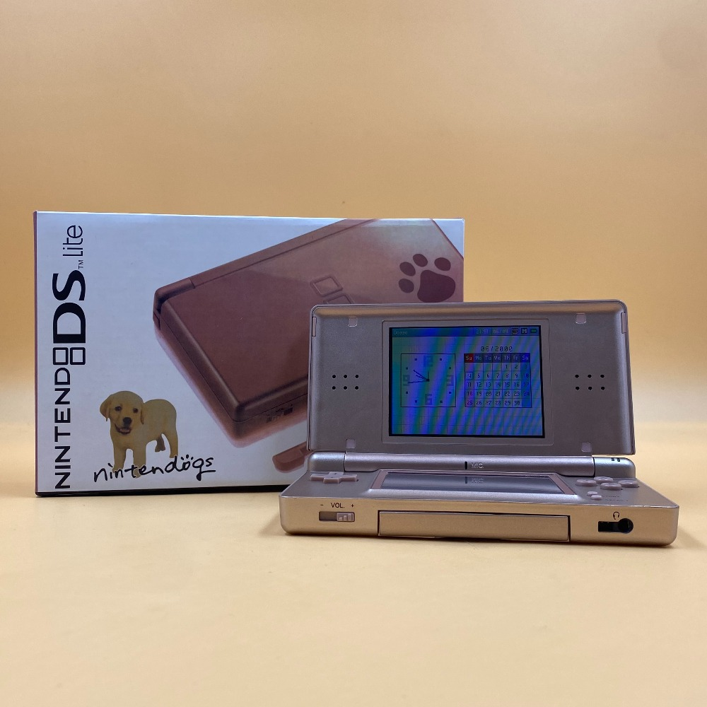 Product photo for NINTENDO DS LITE METALLIC ROSE GOLD NINTENDOGS EDITION - EXCELLENT CONDITION