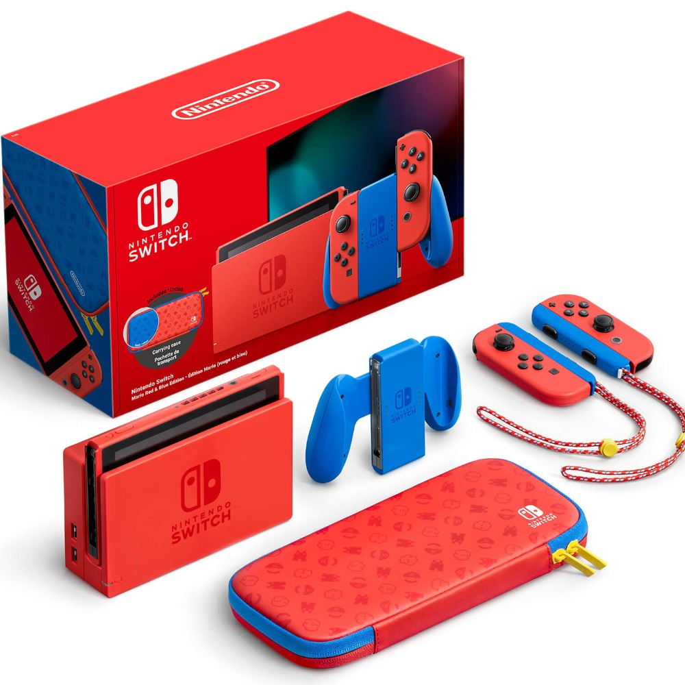 Product photo for Nintendo Switch Console - Mario Red and Blue Edition