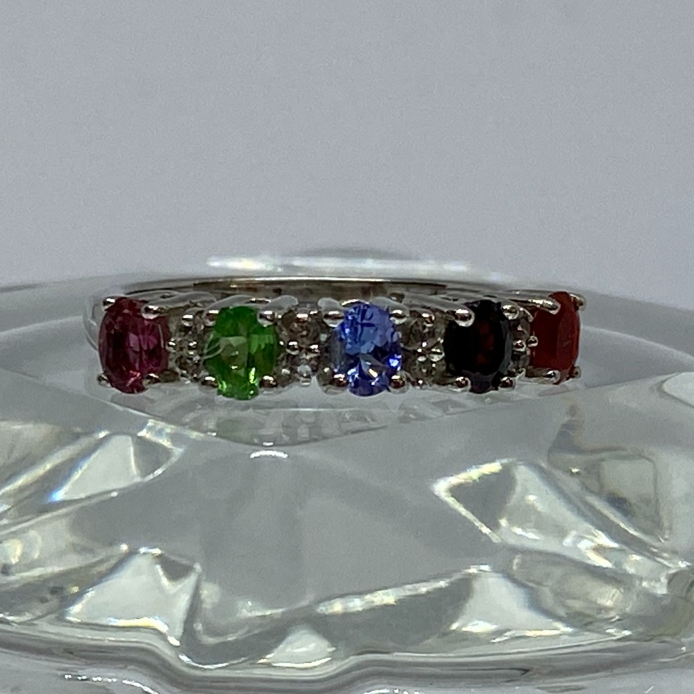 Product photo for SILVER MULTI GEM STONE SET RING - 2.5 GRAMS - SIZE O