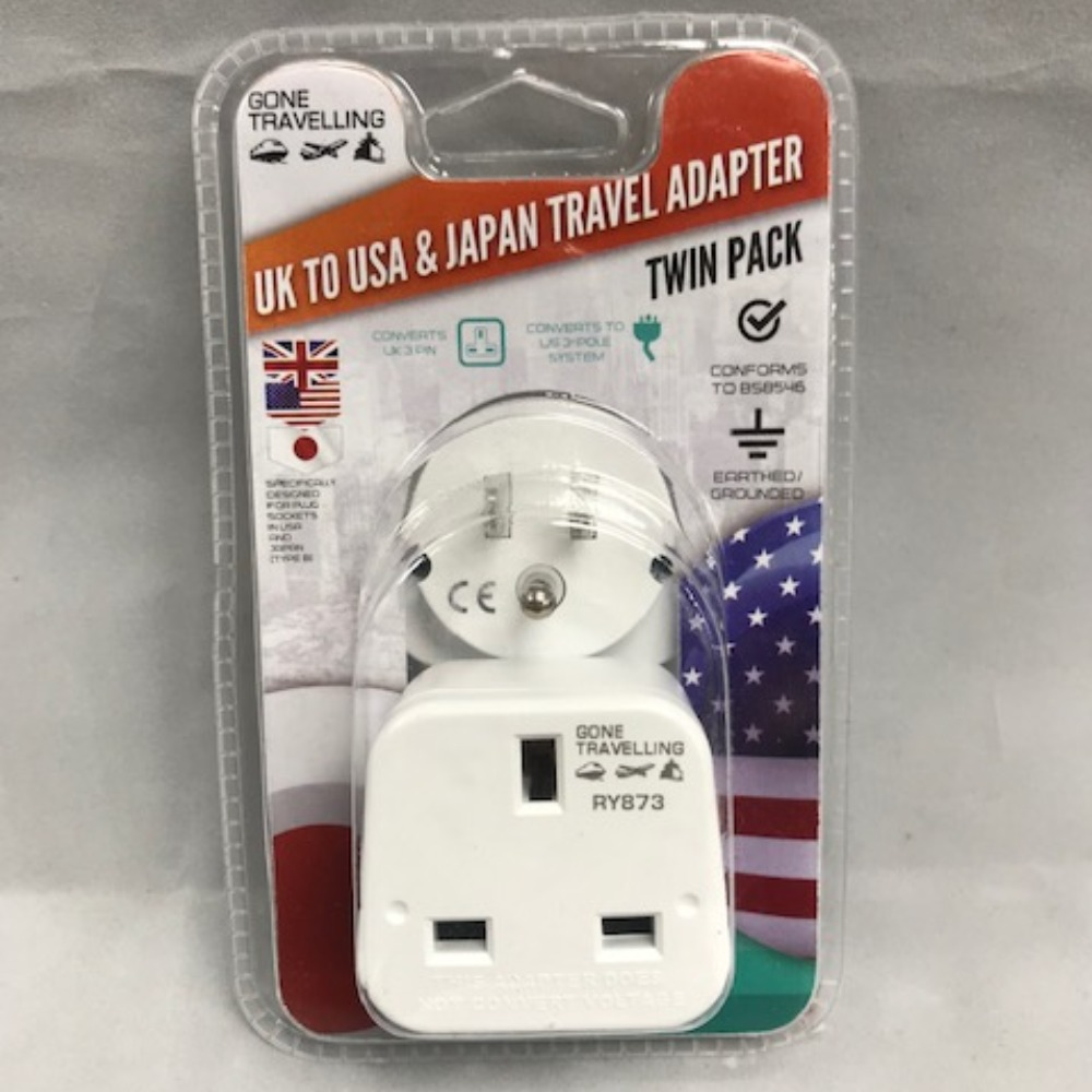 Product photo for Gone Travelling 2 pk North America and Asia travel adaptor