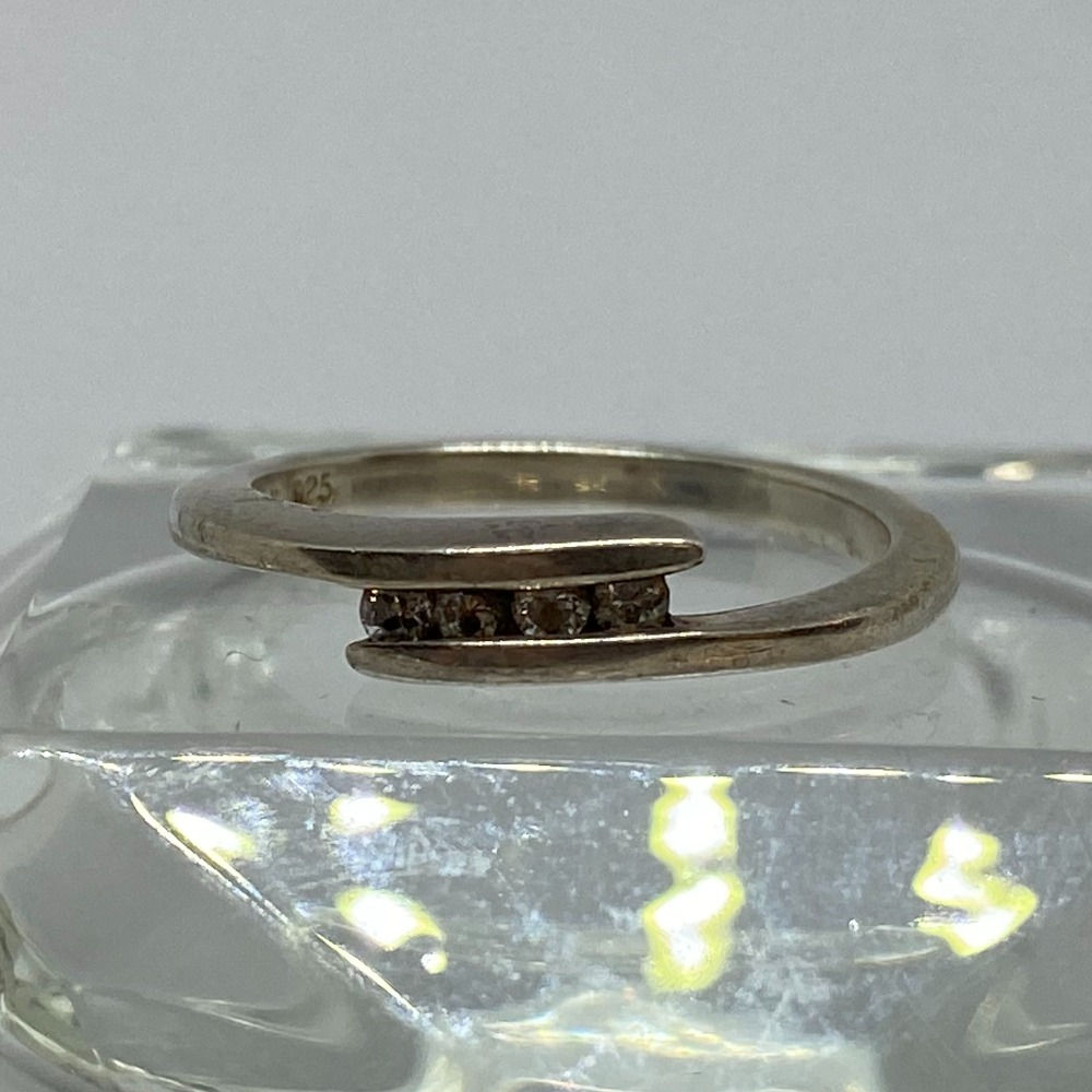Product photo for SILVER CZ RING - SIZE R - 3.2 GRAMS