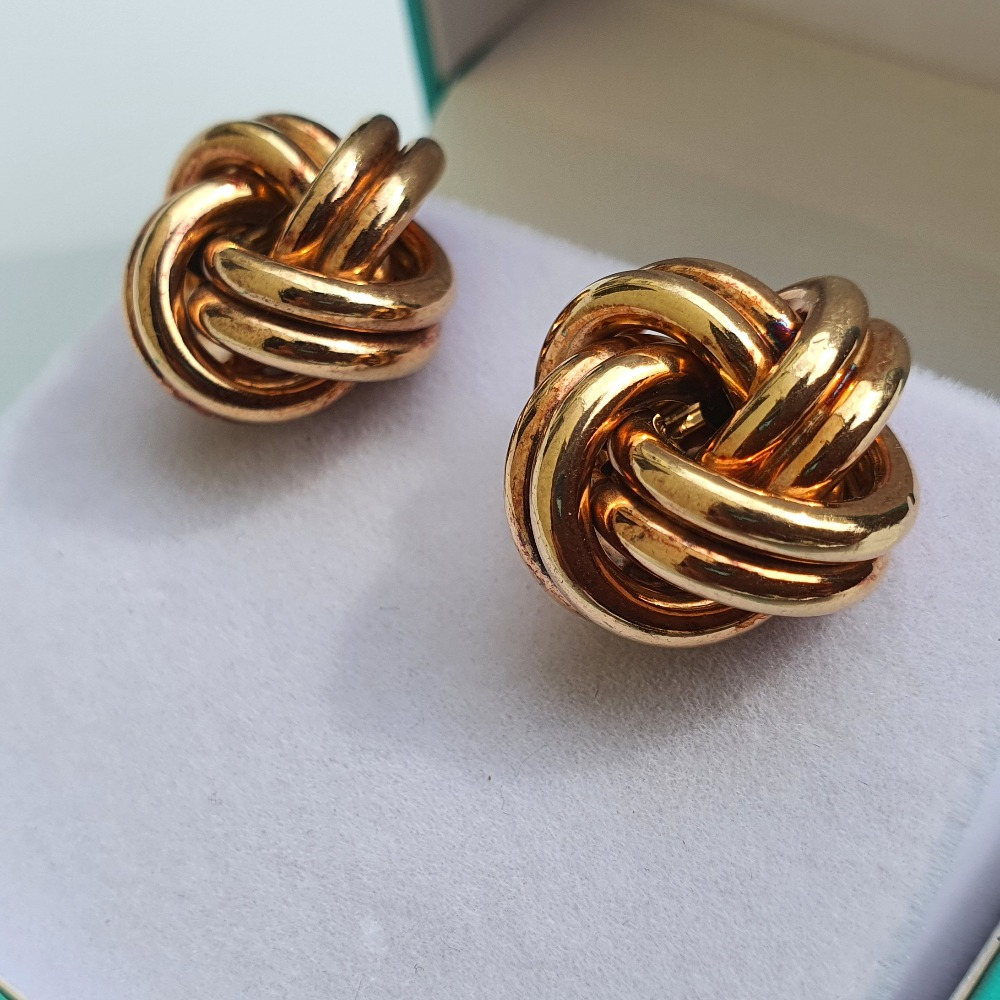 Product photo for 9ct Yellow Gold Knot Earrings