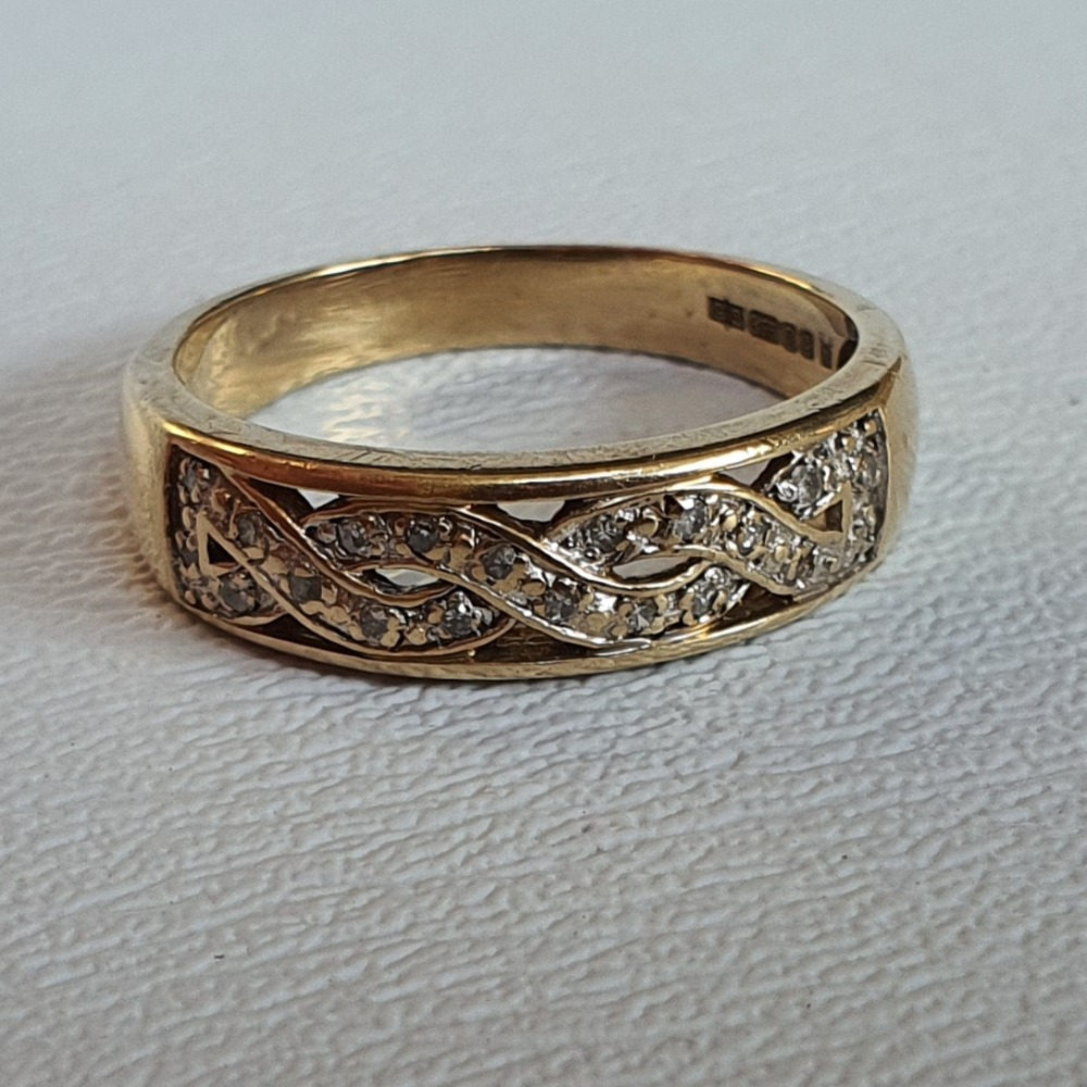 Product photo for 9ct Yellow Gold Diamonds Plaited Half band Ring Size S
