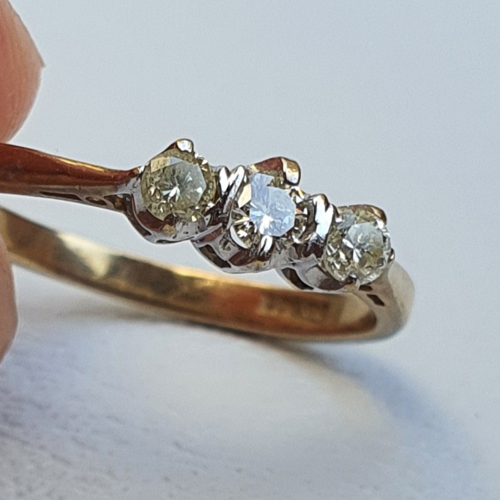 Product photo for 9ct Yellow Gold 3 Diamonds Trilogy Ring Size N
