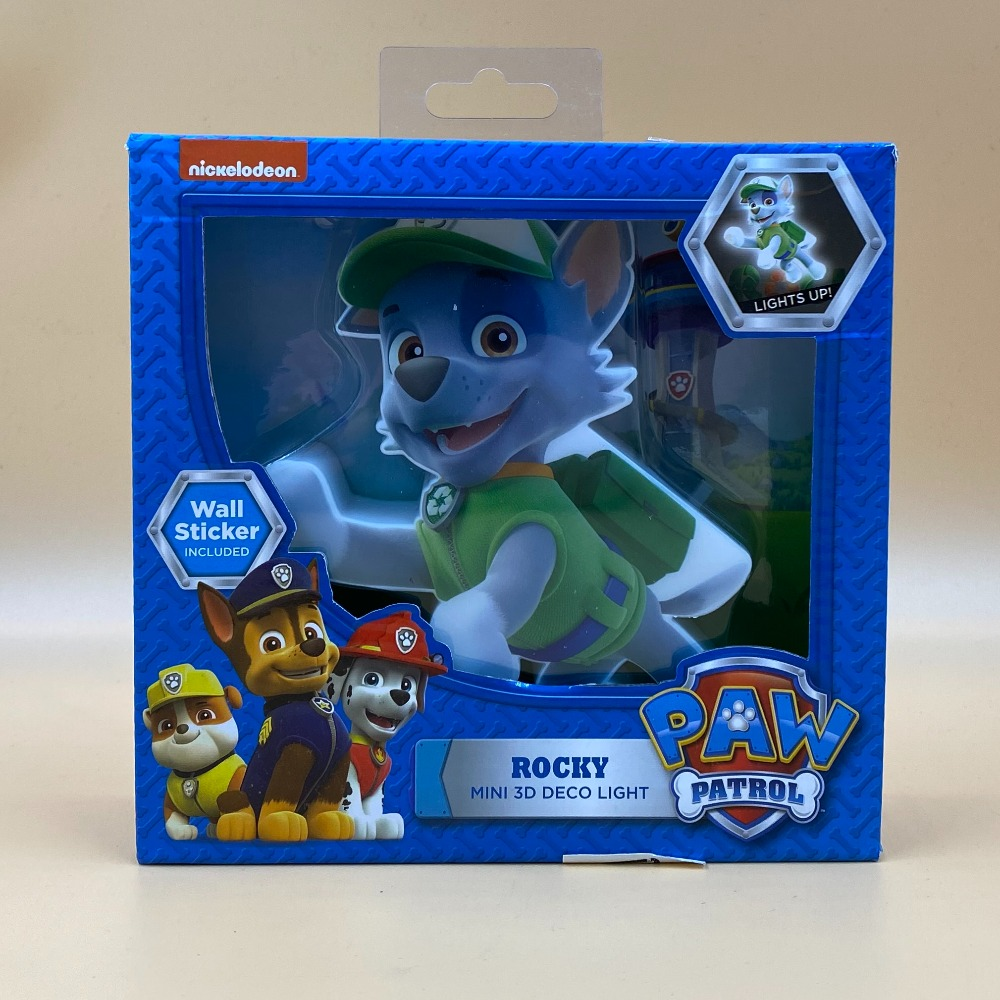 Product photo for PAW PATROL MINI ROCKY LIGHT WITH WALL STICKER