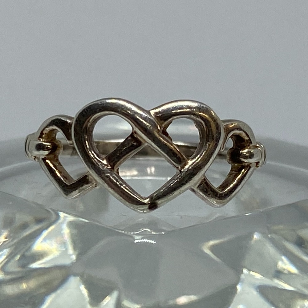 Product photo for SILVER TRIPLE HEART RING - 2.2 GRAMS -SIZE R