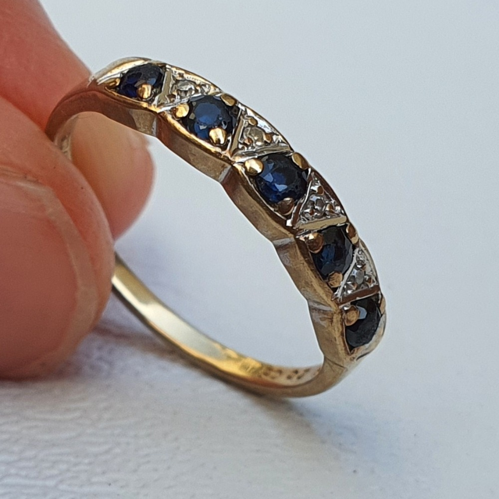 Product photo for Vintage 9ct Yellow Gold Blue Sapphire Half Band Ring Size K