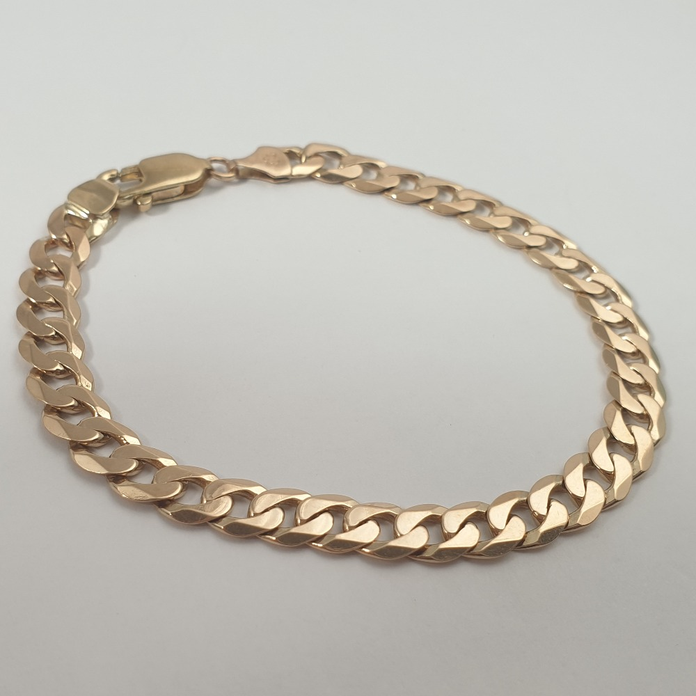 Product photo for 9ct yellow gold curb bracelet 8.3