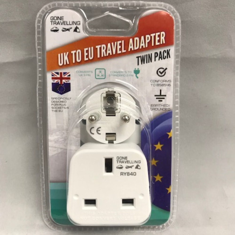 Product photo for Gone Travelling 2 pk European Travel Adaptor