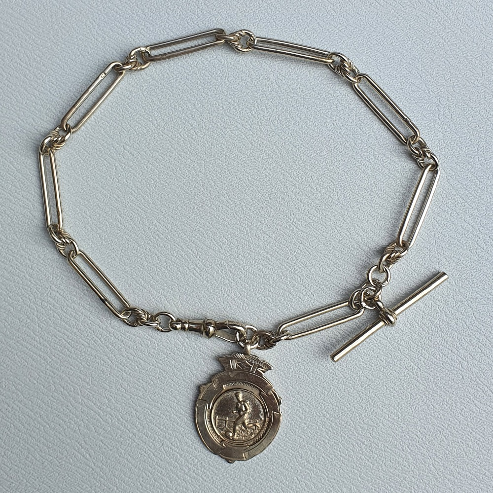 Product photo for Vintage Silver Albertina Fob Watch & Medallion Charm Pendant